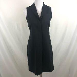 Theory button down black dress tuxedo collar